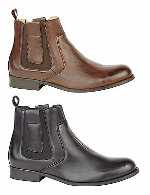 Mens Boys Black Brown Formal Casual Fashion Trendy Chelsea Boot Shoe