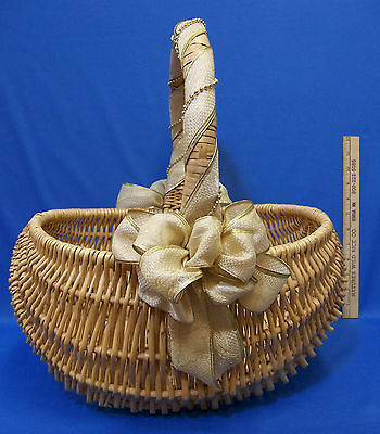 Natural Woven Wood Wicker Basket w/ Fixed Handle & Gold Cream Ribbon Bow & Beads