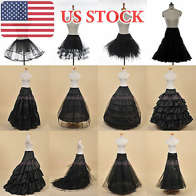 White/Black A-Line Ball Gown Mermaid Petticoat Bridal Underskirt Crinoline Slips