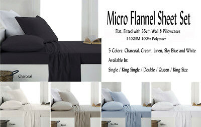 Micro Flannel / Flannelette Sheet Set Colours Choice For All Bed Sizes