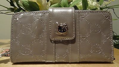NWT Loungefly Hello Kitty Silver Grey Embossed Faux Patent Leather Wallet