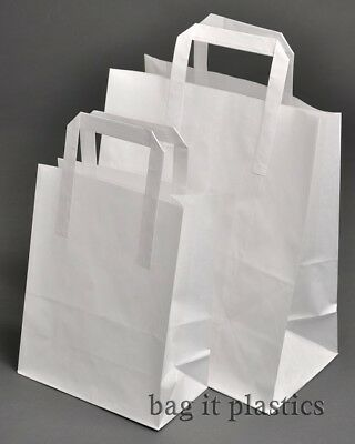 "30 WHITE CHILDRENS PAPER PARTY / ART / CRAFT CARRIER BAGS - 7"" x 3½"" x 8½"""