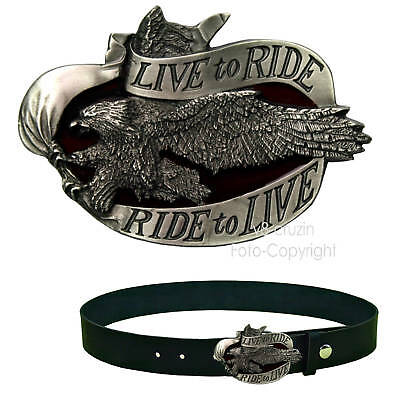 * Live To Ride Eagle Gürtelschnalle Biker Adler USA Rider Belt Buckle *169