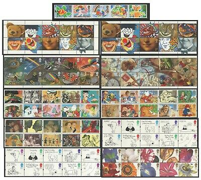 Greetings Booklet Stamps 1990 - 1997. Unmounted strips of 10.