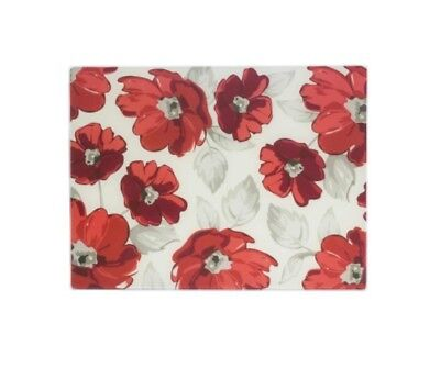 Glass Worktop Protector Saver Cutting Chopping Board Rayware Alpine Poppy Flower