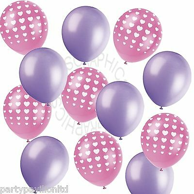 Pink Heart Printed Lilac Helium Balloons,Birthday,Wedding,Engagement Decorations