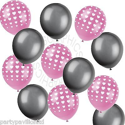 Pink Heart Printed Black Helium Balloons,Wedding,Engagement,Party Decorations