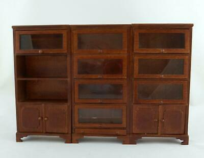 Melody Jane Dolls House Miniature Study Traditional 3 Pc Walnut Lawyers Bookcase