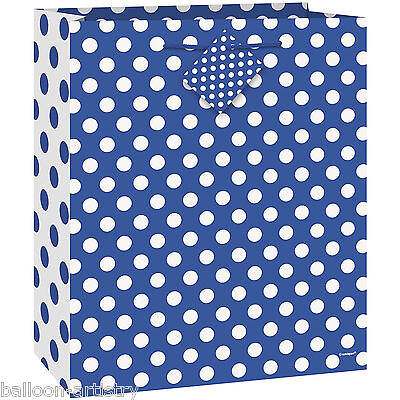Medium Size BLUE White Polka Dot Spot Style Party Paper Treat Loot Gift Bag