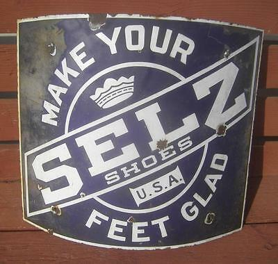 Vintage Selz Make Your Feet Glad Porcelain Advertising Curved Pole Sign Store