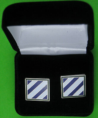 "3rd Infantry Division Army Cufflinks in Presentation Case  ""Rock of the Marne"""