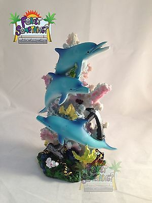 Collectible Dolphin Figurine on top of Coral, Shelf Decor,