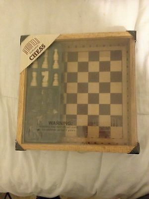 2002 Woodfield Collection Chess Set, Wooden Box *NEW & SEALED*