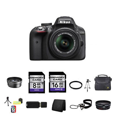 Nikon D3300 Digital SLR Camera - Black w/18-55mm Lens 24GB Full Kit