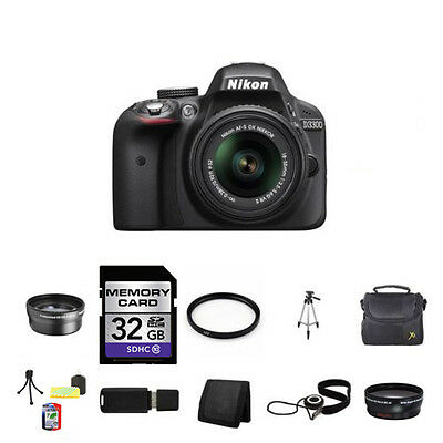 Nikon D3300 Digital SLR Camera - Black w/18-55mm Lens 32GB Full Kit