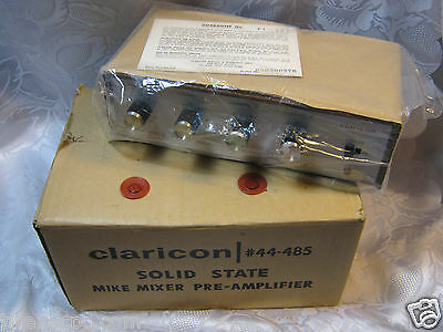 Claricon Solid State Mike Mixer Audio Preamplifier Vintage New Old Stock !