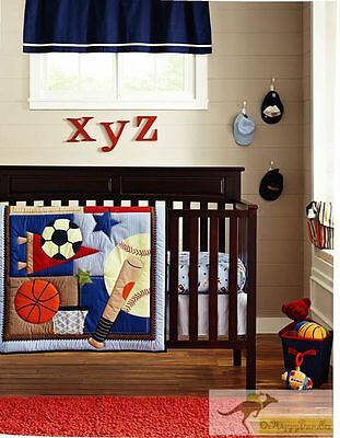 New Baby Boys 7 Pieces Cotton Nursery Bedding Crib Cot Sets-Sports Balls Style A