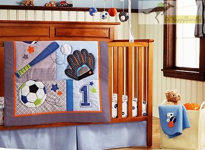 New Baby Boys 9 Pieces Cotton Nursery Bedding Crib Cot Sets- Sports Balls Style