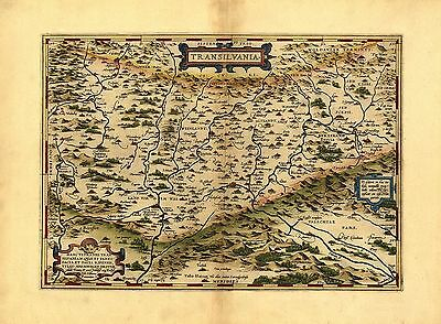 Large A1 Size Poster Abraham Ortelius Transylvania Romania Old Antique Map Plan
