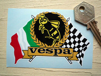 VESPA WASP Garland and Crossed Italian & Chequered Flags STICKER Helmet Scooter