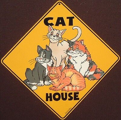 CAT HOUSE ALUMINUM CROSSING Sign print picture decor home cats painting signs