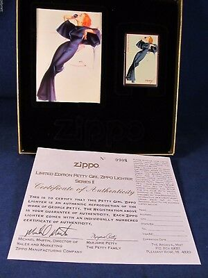 "Zippo Lighter Petty Girl Series by George Petty ""Satin Doll"" Mint In Case A6"