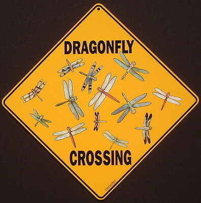 DRAGONFLY CROSSING SIGN aluminum picture decor painting home signs dragonflys