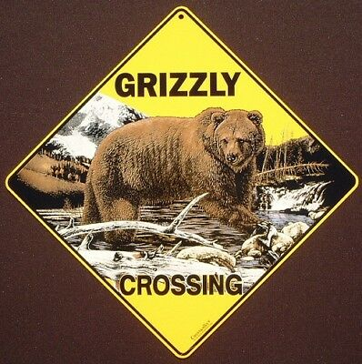 GRIZZLY BEAR CROSSING SIGN aluminum wildlife decor animals novelty bears home