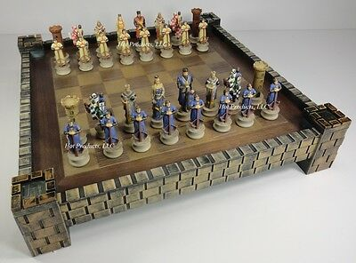 """***** MEDIEVAL TIMES CRUSADES KNIGHT CHESS Chess Set CASTLE Board 17"""" CRUSADE"""