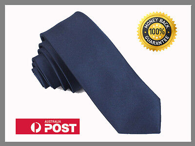 Deep Blue New Slim Solid Mens silk Tie groom wedding skinny Necktie