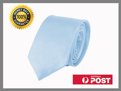 Light Blue New Slim Solid Mens silk Tie groom wedding skinny Necktie
