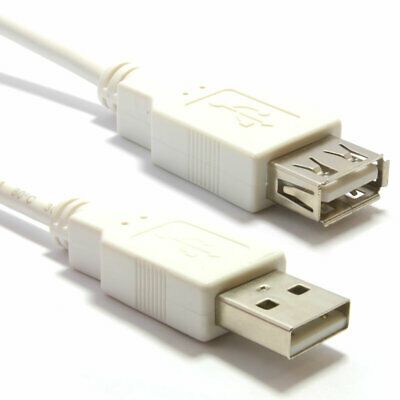 2m USB 2.0 High Speed Cable EXTENSION Lead A PLug to Socket WHITE [006870]