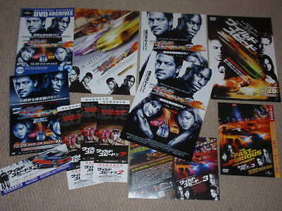 The FAST and the FURIOUS 2 FAST / 3 film Japan FLYER x13! Paul Walker Vin Diesel