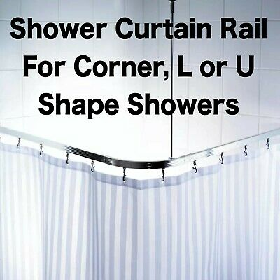 Chrome White Size Adjustable U L Shape Corner Shower Curtain Pole Rail Track