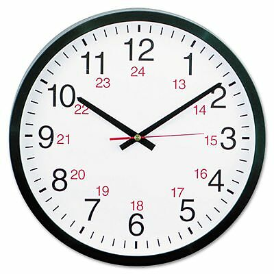 Universal 24-Hour Round Wall Clock, 12-1/2in, Black, 1 AA Battery - UNV10441