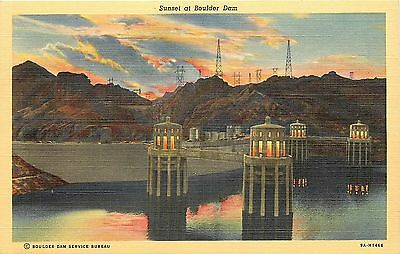 Vintage Linen Roadside PC; Sunset at Boulder Dam, C.T. Art Colortone Curt Teich