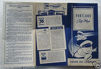 Union Oil Co. City Map Of Portland 1950's