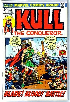 KULL the CONQUEROR #5 Blade! Blood! Battle! Marvel Comic Book ~ FN