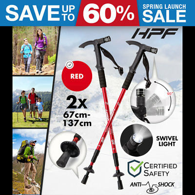 HPF Hiking Trekking Poles Walking Sticks LED Adjustable Anti Shock Camping Red