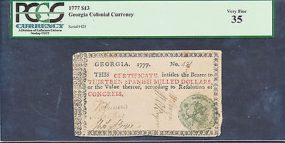 "Ga-91 Georgia Colonial Currency 1777 $13.00 -- Pcgs Vf ""35"" -- Wl1828 Key"