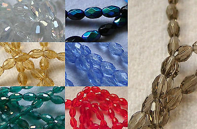 *CLEARANCE* Faceted Barrel Oval Glass Crystal Beads 6mm 8mm 10mm *CLEARANCE*