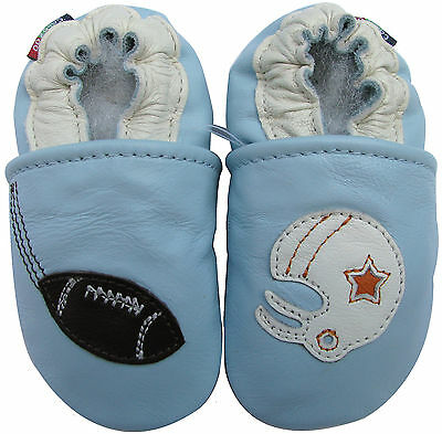 carozoo helicopter light blue 6-12m soft sole leather infant baby shoes