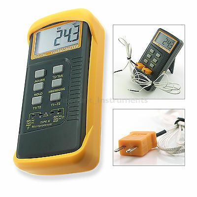 Dual Two Channel 2 K-Type Digital Thermometer Thermocouple Sensor 2372 °F °C