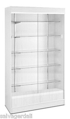 """Wall Case Knockdown Glass Trophy Showcase Store Display White 48""""Wx18""""Dx78""""  NEW"""