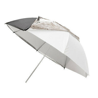 "PIXAPRO ® 40"" Translucent White Studio Umbrella & Removable Black/Silver Backing"