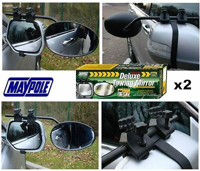 Pair of Maypole 8327 Universal Convex Glass Deluxe Car Caravan Towing Mirrors