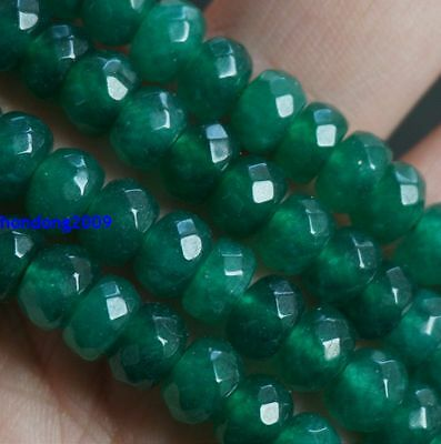 Natural 5x8mm Faceted Green Beryl Gemstone Abacus Loose Beads 15'' AAA