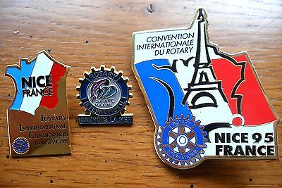 lot 3 pin's vintage Rotary convention Nice 1995 et Ste Maxime sauvons la mer