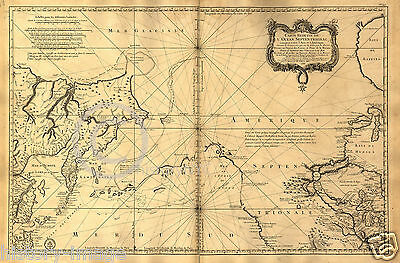 "1765 HUGE FRENCH NAUTICAL MAP ALASKA OREGON PACIFIC 44"" by 64"" Extra Large"