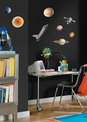 OUTER SPACE TRAVEL wall stickers 24 decals Rocketship Sun Planets Universe decor & OUTER SPACE TRAVEL wall stickers 24 decals Rocketship Sun Planets ...
